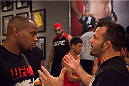 LAS VEGAS, NV - JUNE 10:  Team Valasquez assistant coach Daniel Cormier argues with Team Werdum's assistant coach after the controversial fight between Team Velasquez fighter Marco Beltran and team Werdum fighter Guido Cannetti in their preliminary fight during filming of The Ultimate Fighter Latin America on June 10, 2014 in Las Vegas, Nevada. (Photo by Brandon Magnus/Zuffa LLC/Zuffa LLC via Getty Images) *** Local Caption *** Daniel Cormier