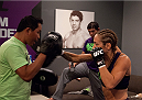 LAS VEGAS, NV - JULY 18:  Team Melendez fighter Heather Jo Clark warms up before facing team Pettis fighter Felice Herrig during filming of season twenty of The Ultimate Fighter on July 18, 2014 in Las Vegas, Nevada. (Photo by Brandon Magnus/Zuffa LLC/Zuffa LLC via Getty Images) *** Local Caption *** Heather Jo Clark