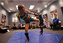 LAS VEGAS, NV - JULY 18:  Team Pettis fighter Felice Herrig warms up before facing team Melendez fighter Heather Jo Clark during filming of season twenty of The Ultimate Fighter on July 18, 2014 in Las Vegas, Nevada. (Photo by Brandon Magnus/Zuffa LLC/Zuffa LLC via Getty Images) *** Local Caption *** Felice Herrig