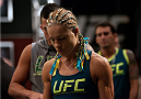 LAS VEGAS, NV - JULY 18:  Team Pettis fighter Felice Herrig prepares to enter the Octagon before facing team Melendez fighter Heather Jo Clark during filming of season twenty of The Ultimate Fighter on July 18, 2014 in Las Vegas, Nevada. (Photo by Brandon Magnus/Zuffa LLC/Zuffa LLC via Getty Images) *** Local Caption *** Felice Herrig