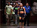 LAS VEGAS, NV - JULY 18:  Team Melendez fighter Heather Jo Clark prepares to enter the Octagon before facing team Pettis fighter Felice Herrig during filming of season twenty of The Ultimate Fighter on July 18, 2014 in Las Vegas, Nevada. (Photo by Brandon Magnus/Zuffa LLC/Zuffa LLC via Getty Images) *** Local Caption *** Heather Jo Clark