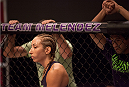 LAS VEGAS, NV - JULY 18:  Team Melendez fighter Heather Jo Clark enters the Octagon before facing team Pettis fighter Felice Herrig during filming of season twenty of The Ultimate Fighter on July 18, 2014 in Las Vegas, Nevada. (Photo by Brandon Magnus/Zuffa LLC/Zuffa LLC via Getty Images) *** Local Caption *** Heather Jo Clark