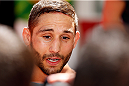 RIO DE JANEIRO, BRAZIL - OCTOBER 23:  Chad Mendes interacts with media after an open training session for media inside Maracanã Stadium on October 23, 2014 in Rio de Janeiro, Brazil. (Photo by Josh Hedges/Zuffa LLC/Zuffa LLC via Getty Images)