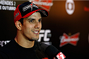 RIO DE JANEIRO, BRAZIL - OCTOBER 23:  Felipe Arantes of Brazil interacts with media during the UFC 179 Ultimate Media Day at the Pestana Rio Atlantica Hotel on October 23, 2014 in Rio de Janeiro, Brazil. (Photo by Josh Hedges/Zuffa LLC/Zuffa LLC via Getty Images)