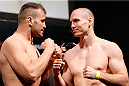 RIO DE JANEIRO, BRAZIL - OCTOBER 24:  (L-R) Opponents Fabio Maldonado of Brazil and Hans Stringer of The Netherlands face off during the UFC 179 weigh-in at the Maracanãzinho Gymnasium on October 24, 2014 in Rio de Janeiro, Brazil. (Photo by Josh Hedges/Zuffa LLC/Zuffa LLC via Getty Images)
