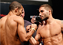 RIO DE JANEIRO, BRAZIL - OCTOBER 24:  (L-R) Opponents Jose Aldo of Brazil and Chad Mendes face off during the UFC 179 weigh-in at the Maracanãzinho Gymnasium on October 24, 2014 in Rio de Janeiro, Brazil. (Photo by Josh Hedges/Zuffa LLC/Zuffa LLC via Getty Images)