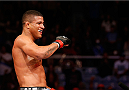 RIO DE JANEIRO, BRAZIL - OCTOBER 25:  Gilbert Burns of Brazil celebrates after his submission victory over Christos Giagos in their lightweight bout during the UFC 179 event at Maracanazinho on October 25, 2014 in Rio de Janeiro, Brazil.  (Photo by Josh Hedges/Zuffa LLC/Zuffa LLC via Getty Images)