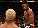 RIO DE JANEIRO, BRAZIL - OCTOBER 25:  (R-L) Neil Magny squares off with William