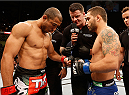 RIO DE JANEIRO, BRAZIL - OCTOBER 25:  (L-R) Opponents Jose Aldo of Brazil and Chad Mendes face off before their featherweight championship bout during the UFC 179 event at Maracanazinho on October 25, 2014 in Rio de Janeiro, Brazil.  (Photo by Josh Hedges/Zuffa LLC/Zuffa LLC via Getty Images)