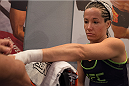 LAS VEGAS, NV - JULY 18:  Team Melendez fighter Angela Magana gets her hands wrapped before facing team Pettis fighter Aisling Daly during filming of season twenty of The Ultimate Fighter on July 18, 2014 in Las Vegas, Nevada. (Photo by Brandon Magnus/Zuffa LLC/Zuffa LLC via Getty Images) *** Local Caption *** Angela Magana