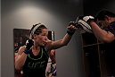 LAS VEGAS, NV - JULY 18:  Team Melendez fighter Angela Magana warms before facing team Pettis fighter Aisling Daly during filming of season twenty of The Ultimate Fighter on July 18, 2014 in Las Vegas, Nevada. (Photo by Brandon Magnus/Zuffa LLC/Zuffa LLC via Getty Images) *** Local Caption *** Angela Magana