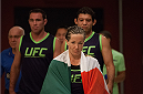 LAS VEGAS, NV - JULY 18:  Team Melendez fighter Angela Magana prepares to enter the Octagon before facing team Pettis fighter Aisling Daly during filming of season twenty of The Ultimate Fighter on July 18, 2014 in Las Vegas, Nevada. (Photo by Brandon Magnus/Zuffa LLC/Zuffa LLC via Getty Images) *** Local Caption *** Angela Magana