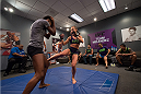 LAS VEGAS, NV - JULY 28:  Team Melendez fighter Rose Namjunas warms up before facing team Pettis fighter Alex Chambers during filming of season twenty of The Ultimate Fighter on July 28, 2014 in Las Vegas, Nevada. (Photo by Brandon Magnus/Zuffa LLC/Zuffa LLC via Getty Images) *** Local Caption *** Rose Namjunas
