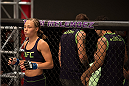 LAS VEGAS, NV - JULY 28:  Team Melendez fighter Rose Namjunas enters the Octagon before facing team Pettis fighter Alex Chambers during filming of season twenty of The Ultimate Fighter on July 28, 2014 in Las Vegas, Nevada. (Photo by Brandon Magnus/Zuffa LLC/Zuffa LLC via Getty Images) *** Local Caption *** Rose Namjunas