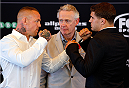 SYDNEY, AUSTRALIA - NOVEMBER 06:  (L-R) Opponents Ross Pearson of England and Al Iaquinta of the United States face off during the UFC Fight Night press conference at the Opera Point Marquee on November 6, 2014 in Sydney, Australia. (Photo by Josh Hedges/Zuffa LLC/Zuffa LLC via Getty Images)