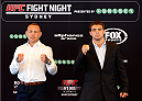 SYDNEY, AUSTRALIA - NOVEMBER 06:  (L-R) Opponents Ross Pearson of England and Al Iaquinta of the United States pose for photos during the UFC Fight Night press conference at the Opera Point Marquee on November 6, 2014 in Sydney, Australia. (Photo by Josh Hedges/Zuffa LLC/Zuffa LLC via Getty Images)