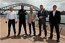 SYDNEY, AUSTRALIA - NOVEMBER 06:  (L-R) Lightweight Ross Pearson of England, middleweight Luke Rockhold of the United States, UFC Managing Director Tom Wright, middleweight Michael Bisping of England, and lightweight Al Iaquinta of the United States pose for a photo in front of the Sydney Harbour Bridge during the UFC Fight Night press conference at the Opera Point Marquee on November 6, 2014 in Sydney, Australia. (Photo by Josh Hedges/Zuffa LLC/Zuffa LLC via Getty Images)