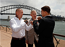 SYDNEY, AUSTRALIA - NOVEMBER 06:  (L-R) Opponents Ross Pearson of England and Al Iaquinta of the United States face off in front of the Sydney Harbour Bridge during the UFC Fight Night press conference at the Opera Point Marquee on November 6, 2014 in Sydney, Australia. (Photo by Josh Hedges/Zuffa LLC/Zuffa LLC via Getty Images)