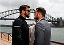 SYDNEY, AUSTRALIA - NOVEMBER 06:  (L-R) Opponents Luke Rockhold of the United States and Michael Bisping of England face off in front of the Sydney Harbour Bridge during the UFC Fight Night press conference at the Opera Point Marquee on November 6, 2014 in Sydney, Australia. (Photo by Josh Hedges/Zuffa LLC/Zuffa LLC via Getty Images)