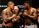 SYDNEY, AUSTRALIA - NOVEMBER 07:  (L-R) Opponents Soa Palelei of Australia and Walt Harris of the United States face off during the UFC Fight Night weigh-in at the Allphones Arena on November 7, 2014 in Sydney, Australia. (Photo by Josh Hedges/Zuffa LLC/Zuffa LLC via Getty Images)