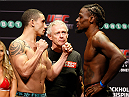 SYDNEY, AUSTRALIA - NOVEMBER 07:  (L-R) Opponents Robert Whittaker of New Zealand and Clint Hester of the United States face off during the UFC Fight Night weigh-in at the Allphones Arena on November 7, 2014 in Sydney, Australia. (Photo by Josh Hedges/Zuffa LLC/Zuffa LLC via Getty Images)