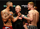 SYDNEY, AUSTRALIA - NOVEMBER 07:  (L-R) Opponents Dylan Andrews of New Zealand and Sam Alvey of the United States face off during the UFC Fight Night weigh-in at the Allphones Arena on November 7, 2014 in Sydney, Australia. (Photo by Josh Hedges/Zuffa LLC/Zuffa LLC via Getty Images)
