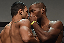 UBERLANDIA, BRAZIL - NOVEMBER 07:  (L-R) Opponents Claudio Silva of Brazil and Leon Edwards of England  face off during the UFC Fight Night weigh-in at Sabiazinho Gymnasium on November 7, 2014 in Uberlandia, Brazil.  (Photo by Buda Mendes/Zuffa LLC/Zuffa LLC via Getty Images)