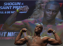 UBERLANDIA, BRAZIL - NOVEMBER 07:  UFC light heavyweight fighter Ovince Saint Preux of the United States weighs in during the UFC Fight Night weigh-in at Sabiazinho Gymnasium on November 7, 2014 in Uberlandia, Brazil.  (Photo by Buda Mendes/Zuffa LLC/Zuffa LLC via Getty Images)