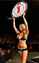 SYDNEY, AUSTRALIA - NOVEMBER 08:  UFC Octagon Girl Kahili Blundell introduces a round during the UFC Fight Night event inside Allphones Arena on November 8, 2014 in Sydney, Australia.  (Photo by Josh Hedges/Zuffa LLC/Zuffa LLC via Getty Images)