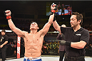 UBERLANDIA, BRAZIL - NOVEMBER 08:  Diego Rivas of Chile celebrates his victory over Rodolfo Rubio of Mexico  in their featherweight bout during the UFC Fight Night at Sabiazinho Gymnasium on November 8, 2014 in Uberlandia, Brazil.  (Photo by Buda Mendes/Zuffa LLC/Zuffa LLC via Getty Images)