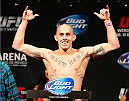 MEXICO CITY, MEXICO - NOVEMBER 14:  Marlon Vera of Ecuador poses on the scale after weighing in during the UFC 180 weigh-in inside the Arena Ciudad de Mexcio on November 14, 2014 in Mexico City, Mexico.  (Photo by Josh Hedges/Zuffa LLC/Zuffa LLC via Getty Images)
