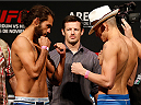 MEXICO CITY, MEXICO - NOVEMBER 14: (L-R) Opponents Marco Beltran of Mexico and Marlon Vera of Ecuador face off during the UFC 180 weigh-in inside the Arena Ciudad de Mexcio on November 14, 2014 in Mexico City, Mexico. (Photo by Josh Hedges/Zuffa LLC/Zuffa LLC via Getty Images)