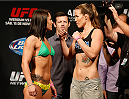MEXICO CITY, MEXICO - NOVEMBER 14:  (L-R) Opponents Jessica Eye of the United States and Leslie Smith of the United States face off during the UFC 180 weigh-in inside the Arena Ciudad de Mexcio on November 14, 2014 in Mexico City, Mexico.  (Photo by Josh Hedges/Zuffa LLC/Zuffa LLC via Getty Images)