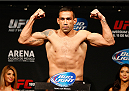 MEXICO CITY, MEXICO - NOVEMBER 14: Fabricio Werdum of Brazil poses on the scale after weighing in during the UFC 180 weigh-in inside the Arena Ciudad de Mexcio on November 14, 2014 in Mexico City, Mexico. (Photo by Josh Hedges/Zuffa LLC/Zuffa LLC via Getty Images)