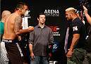 MEXICO CITY, MEXICO - NOVEMBER 14: (L-R) Opponents Fabricio Werdum of Brazil and Mark Hunt of New Zealand face off during the UFC 180 weigh-in inside the Arena Ciudad de Mexcio on November 14, 2014 in Mexico City, Mexico. (Photo by Josh Hedges/Zuffa LLC/Zuffa LLC via Getty Images)