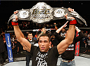 MEXICO CITY, MEXICO - NOVEMBER 15:  Fabricio Werdum of Brazil celebrates after knocking out Mark Hunt in their interim UFC heavyweight championship bout during the UFC 180 event at Arena Ciudad de Mexico on November 15, 2014 in Mexico City, Mexico.  (Photo by Josh Hedges/Zuffa LLC/Zuffa LLC via Getty Images)
