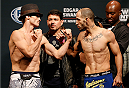 AUSTIN, TX - NOVEMBER 21:  (L-R) Opponents Brad Pickett of England and Chico Camus face off during the UFC weigh-in at The Frank Erwin Center on November 21, 2014 in Austin, Texas.  (Photo by Josh Hedges/Zuffa LLC/Zuffa LLC via Getty Images)