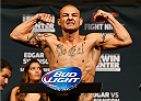 AUSTIN, TX - NOVEMBER 21:  Cub Swanson poses on the scale after weighing in during the UFC weigh-in at The Frank Erwin Center on November 21, 2014 in Austin, Texas.  (Photo by Josh Hedges/Zuffa LLC/Zuffa LLC via Getty Images)