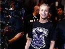 AUSTIN, TX - NOVEMBER 22:  Paige VanZant prepares enters the arena before her women's bantamweight bout against Kailin Curran during the UFC Fight Night event at The Frank Erwin Center on November 22, 2014 in Austin, Texas.  (Photo by Josh Hedges/Zuffa LLC/Zuffa LLC via Getty Images)