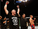 AUSTIN, TX - NOVEMBER 22:  James Vick celebrates after his unanimous-decision victory over Nick Hein of Germany in their lightweight bout during the UFC Fight Night event at The Frank Erwin Center on November 22, 2014 in Austin, Texas.  (Photo by Josh Hedges/Zuffa LLC/Zuffa LLC via Getty Images)