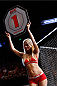 AUSTIN, TX - NOVEMBER 22:  UFC Octagon Girl Chrissy Blair introduces a round during the UFC Fight Night event at The Frank Erwin Center on November 22, 2014 in Austin, Texas.  (Photo by Josh Hedges/Zuffa LLC/Zuffa LLC via Getty Images)