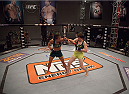 LAS VEGAS, NV - AUGUST 5:  (L-R) Team Pettis fighter Jessica Penne punches team Pettis fighter Aisling Daly during filming of season twenty of The Ultimate Fighter on August 5, 2014 in Las Vegas, Nevada. (Photo by Brandon Magnus/Zuffa LLC/Zuffa LLC via Getty Images) *** Local Caption *** Jessica Penne;Aisling Daly