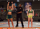 LAS VEGAS, NV - AUGUST 5:  (L-R) Team Pettis fighter Jessica Penne celebrates her win over team Pettis fighter Aisling Daly during filming of season twenty of The Ultimate Fighter on August 5, 2014 in Las Vegas, Nevada. (Photo by Brandon Magnus/Zuffa LLC/Zuffa LLC via Getty Images) *** Local Caption *** Jessica Penne;Aisling Daly