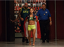 LAS VEGAS, NV - AUGUST 6:  Team Pettis fighter Tecia Torres prepares to enter the Octagon before facing team Pettis fighter Carla Esparza in the quarterfinals during filming of season twenty of The Ultimate Fighter on August 6, 2014 in Las Vegas, Nevada. (Photo by Brandon Magnus/Zuffa LLC/Zuffa LLC via Getty Images) *** Local Caption *** Tecia Torres