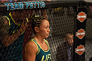 LAS VEGAS, NV - AUGUST 6:  Team Pettis fighter Carla Esparza enters the Octagon before facing team Pettis fighter Tecia Torres in the quarterfinals during filming of season twenty of The Ultimate Fighter on August 6, 2014 in Las Vegas, Nevada. (Photo by Brandon Magnus/Zuffa LLC/Zuffa LLC via Getty Images) *** Local Caption *** Carla Esparza