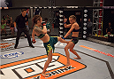 LAS VEGAS, NV - AUGUST 6:  (L-R)Team Pettis fighter Joanne Calderwood kicks team Melendez fighter Rose Namajunas in the quarterfinals during filming of season twenty of The Ultimate Fighter on August 6, 2014 in Las Vegas, Nevada. (Photo by Brandon Magnus/Zuffa LLC/Zuffa LLC via Getty Images) *** Local Caption *** Joanne Calderwood;Rose Namajunas