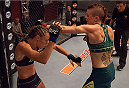 LAS VEGAS, NV - AUGUST 6:  (R-L)Team Pettis fighter Joanne Calderwood punches team Melendez fighter Rose Namajunas in the quarterfinals during filming of season twenty of The Ultimate Fighter on August 6, 2014 in Las Vegas, Nevada. (Photo by Brandon Magnus/Zuffa LLC/Zuffa LLC via Getty Images) *** Local Caption *** Joanne Calderwood;Rose Namajunas