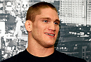LAS VEGAS - DECEMBER 04:  Todd Duffee interacts with media during the UFC 181 Ultimate Media Day at the MGM Grand Hotel/Casino on December 4, 2014 in Las Vegas, Nevada. (Photo by Josh Hedges/Zuffa LLC/Zuffa LLC via Getty Images)