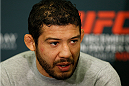 LAS VEGAS - DECEMBER 04:  Lightweight title challenger Gilbert Melendez interacts with media during the UFC 181 Ultimate Media Day at the MGM Grand Hotel/Casino on December 4, 2014 in Las Vegas, Nevada. (Photo by Josh Hedges/Zuffa LLC/Zuffa LLC via Getty Images)