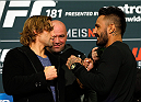 LAS VEGAS - DECEMBER 04:  (L-R) Opponents Urijah Faber and Francisco Rivera face off during the UFC 181 Ultimate Media Day at the MGM Grand Hotel/Casino on December 4, 2014 in Las Vegas, Nevada. (Photo by Josh Hedges/Zuffa LLC/Zuffa LLC via Getty Images)